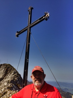 Someone put a cross up on top of the mountain. Marian took my picture.