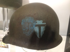Helmet from the 38th Texas Division, which was involved in heavy fighting in the Colmar Pocket.