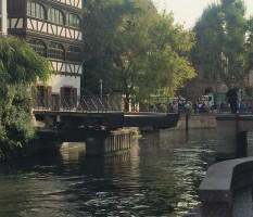Swing bridge across the canal.